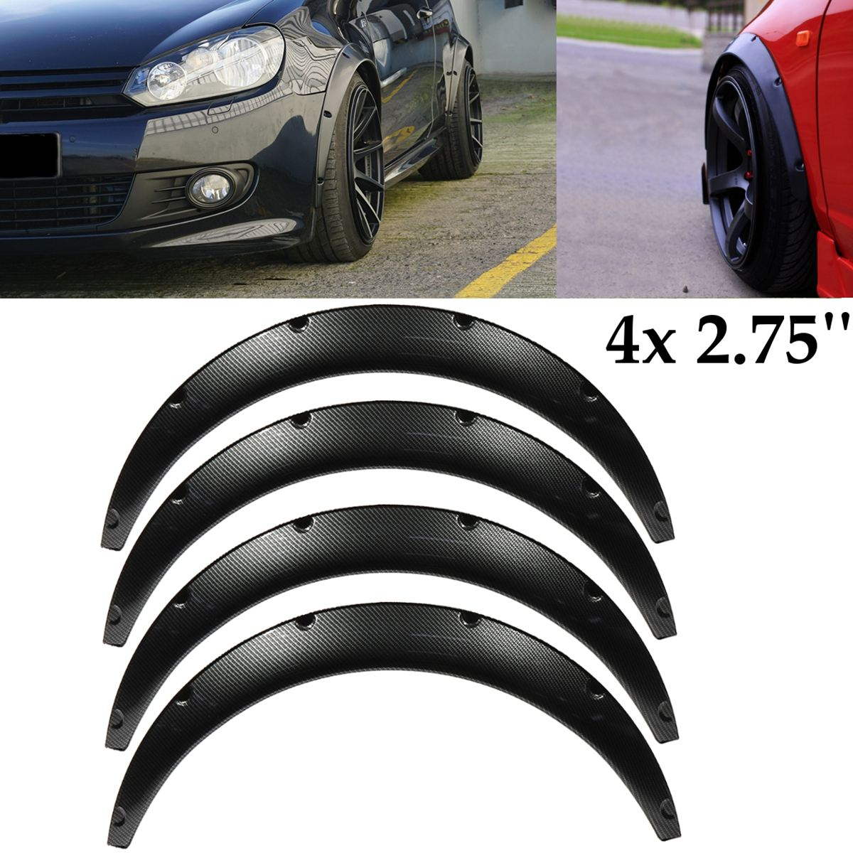 4Pcs 2.75 inch Universal Carbon Fiber Flexible Car Body For Fender Flares Extension Wide Wheel Arches
