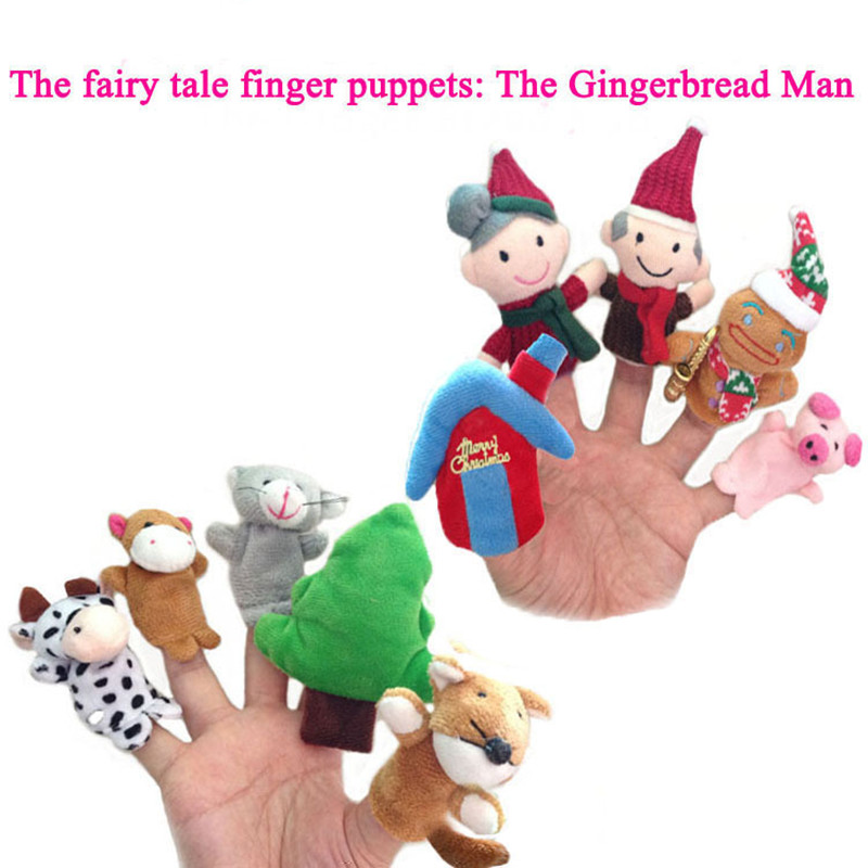 Fairy Tale The Gingerbread Man Finger Puppets Plush Toys Christmas Bed Time Story Dolls Baby Kids Cartoon Educational Toys 10pcslot