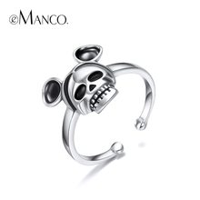 e-Manco Skull 925 Sterling Silver Rings Wholesale Cool Party Punk Skeleton Open Rings Cuff New Arrival Best Gift(China)