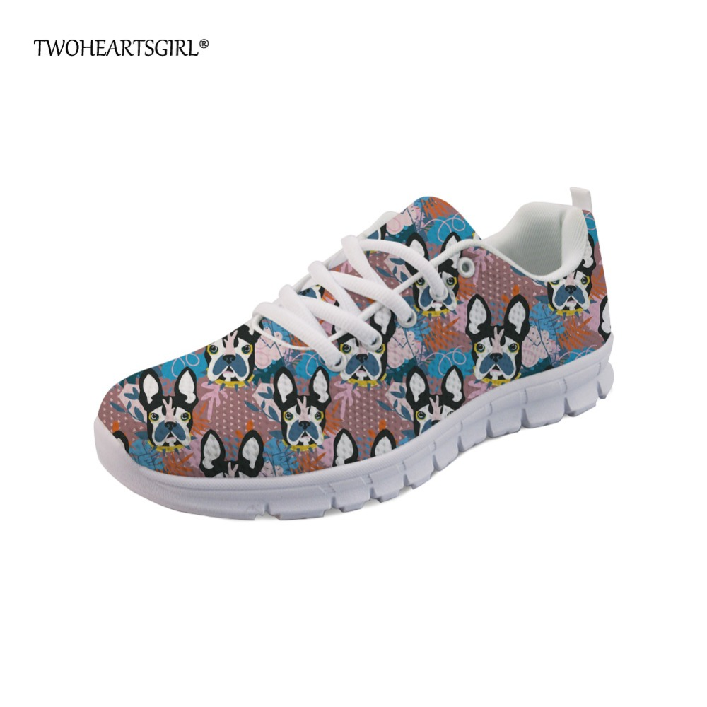 Twoheartsgirl Fashion Women Sneakers Cute Abstract Pup Dog Female Casual Flats Breathable Comfortable Spring Woman Flat Shoes