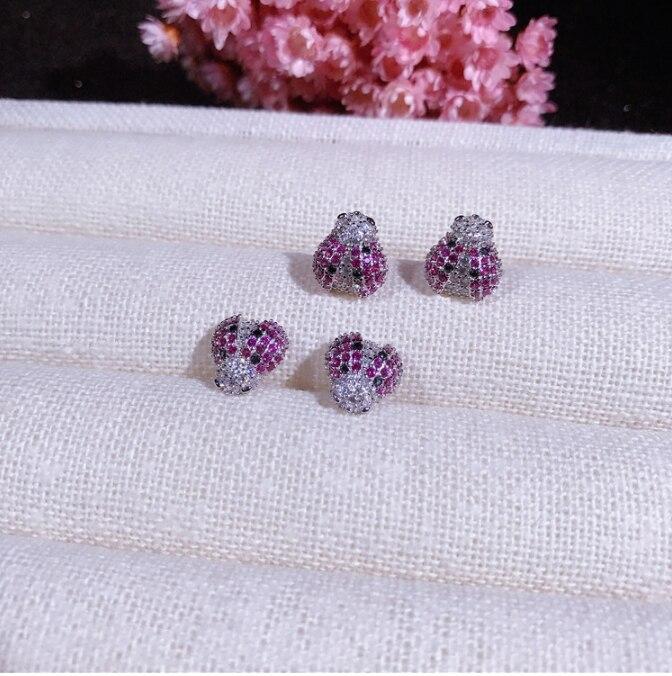 100% 925 argent Sterling argent coloré Zircon petites boucles d'oreilles pour bébé filles mignon cristal insecte boucle Huggies Earriing - 5