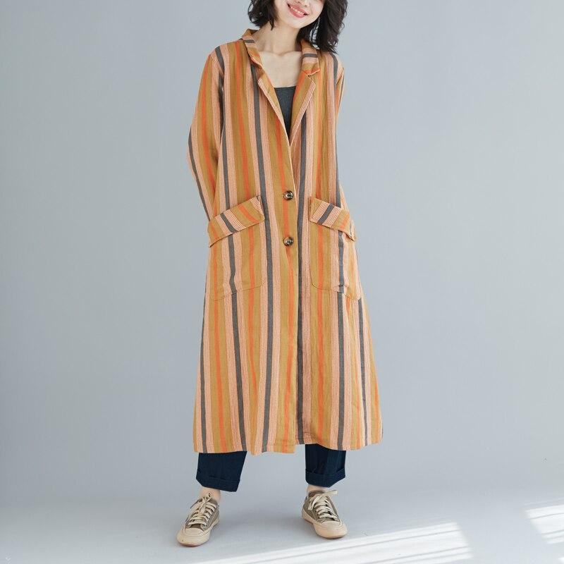 D'hiver Coton Femmes Rayé Femelle Blouses 2018 coffee Casual Superaen Taille Vêtements Pluz Nouveau Longues Chemise Sauvage Mode Yellow w67q4C