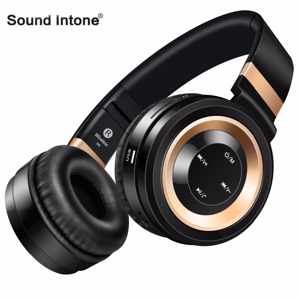 Sound Intone P6 Bluetooth Headphones with Microphone Support TF Card FM Radio Stereo Wireless Headset for