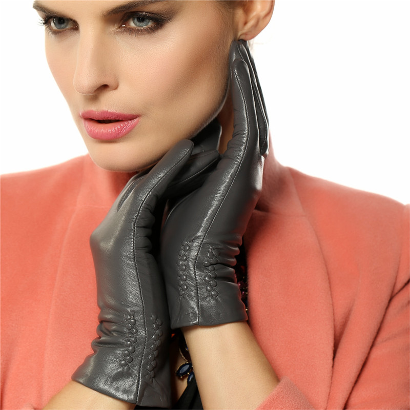 Image 3 - Women Gloves 2019 Thermal Soft Lined Winter Genuine Leather Glove Wrist Solid Fashion Dressing Lambskin Free Shipping L013NC-in Women's Gloves from Apparel Accessories