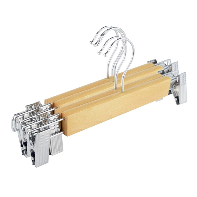 5pcs Natural Wood Hangers Clothes Storage Hanger Wood Bottom Hangers With Adjustable Clips Wooden Pant Skirt Hangers