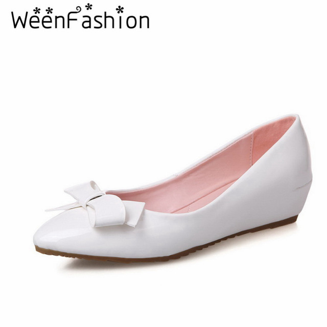 WeenFashion Plus size 34-39 New Women Spring Autumn Shallow Mouth Shoes Comfortable Casual Women's Wedge PU Shoes Work Shoes