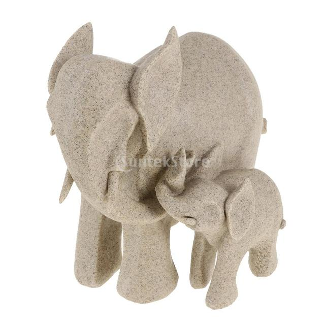 1 Set Feng Shui Mother And Baby Elephant Wealth Lucky Statue Figurine Home Wedding Decor Gift