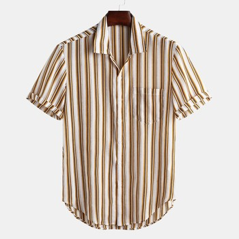 6fc9b19d62aa44 16.55 zł. 2019 gorąca sprzedaż nowe koszulki męskie kolorowe paski lato z  krótkim rękawem luźne guziki koszula ...