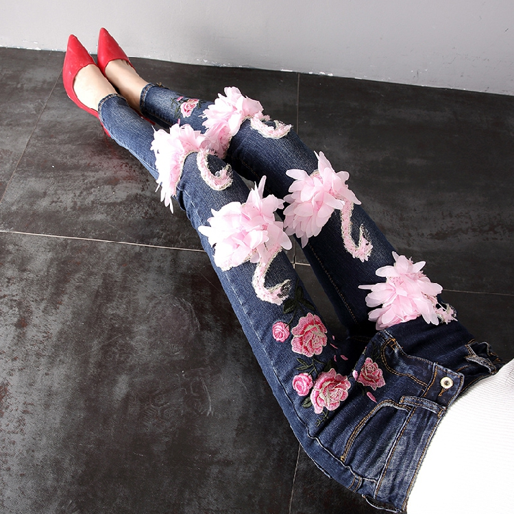 European Style Women Jeans 2018 Spring Winter Fashion Swan Embroidered Cowboy Jeans Female Students Plus Velvet Denim Trousers