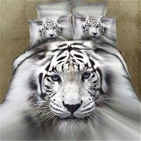 뜨거운 판매 디지털 인쇄 화이트 타이거 침대 시트 커버 3D 침구 홈 섬유 4 세트