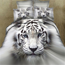 Hot Sale Digital Printed White Tiger Bed Sheet Qulit Cover Comfortable 3D Bedding Four Sets For Home