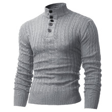 2016 New Autumn Men Sweaters Turtleneck Pullover Casual Button Knitting Mens Sweaters Soft Warm Slim Fit Shirt Men Pullovers 2XL