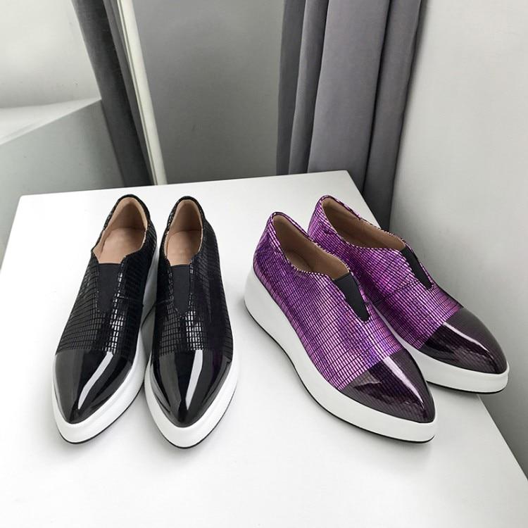 Negro Señoras púrpura Zapatos Cuero Baja Genuino Plataforma Creepers Mujeres Slip Flats De Casuales 2019 Mocasines Plana Punta On Las UzTwT