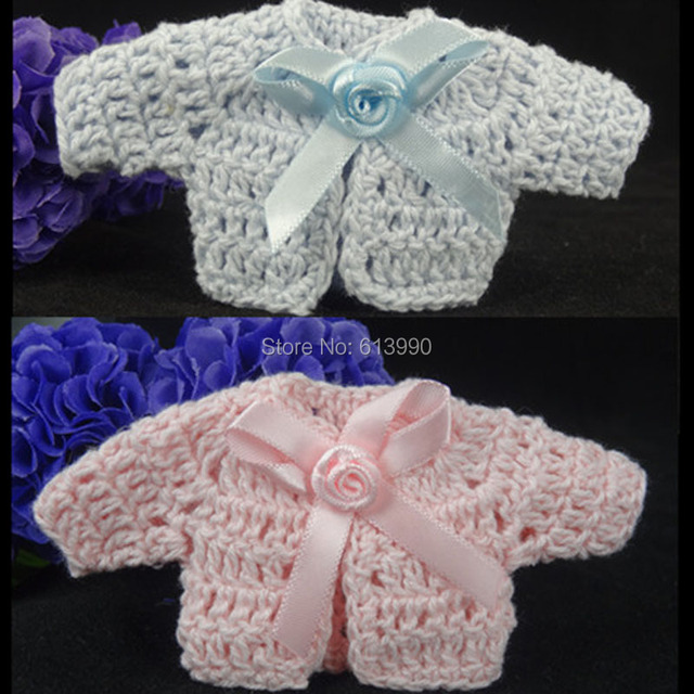 12pcs Miniature Crochet Cardigan Ribbon Baby Shower Favors For Craft Party  Decorations 4.8 X 9.6cm