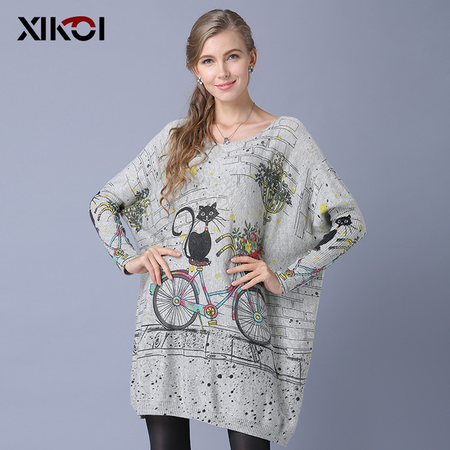 XIKOI Woman Oversize Sweater Winter Long  Cat Bicycle Print Casual Coat Batwing Sleeve Bicycle Cat  Print Pullovers Clothing 3