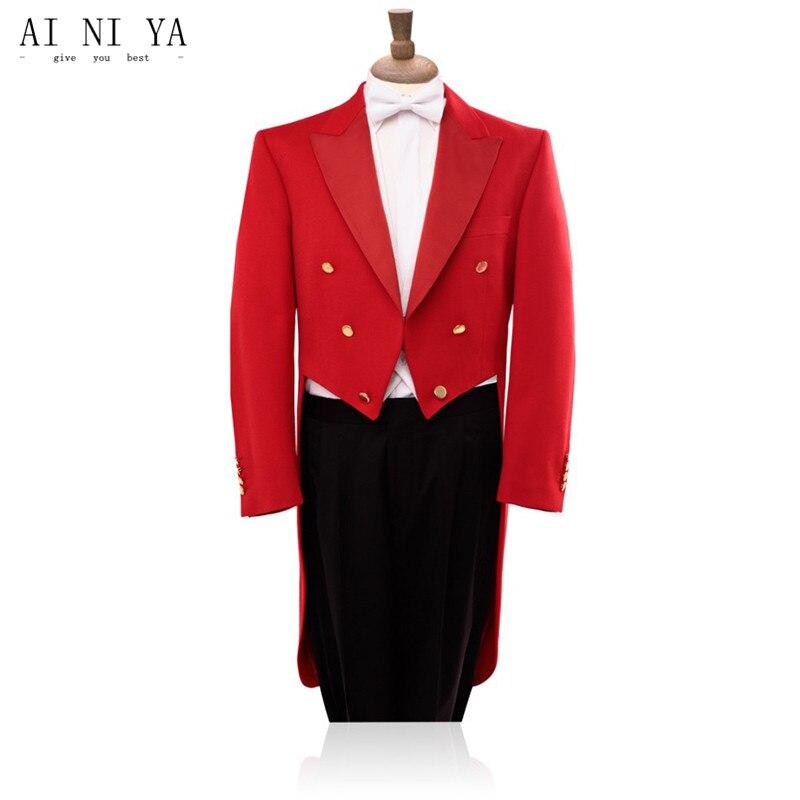 High quality long tailed dress suit autumn red tuxedo jacket black pants suit fashion show custom jacket and pants|red tuxedo jacket|tuxedo jacket|fashion suit - title=