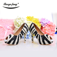 New arrival real leather Zebra stripes Black/white pearl Womens party shoes Bridal wedding shoes Peep toe High heel shoes wedding shoes white diamond crystal pearl high heel waterproof table adult shoes wedding shoes bridal shoes