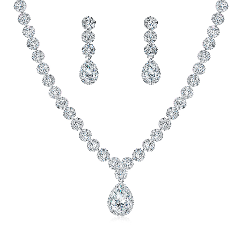 WEIMANJINGDIAN Halo Pear Drop and Flower Cubic Zirconia CZ  Crystal Necklace and Earring Wedding Bridal Jewelry SetBridal Jewelry  Sets