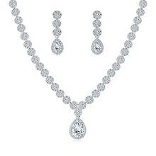 Weimanjingdian Halo Peer Drop En Bloem Zirconia Cz Crystal Ketting En Oorbel Bruiloft Bruids Sieraden Set