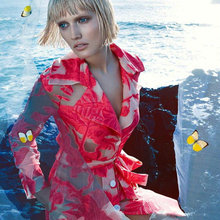 Women's Sets Elegant and sleeveless Printed Dress + long – sleeved jacket coat suit