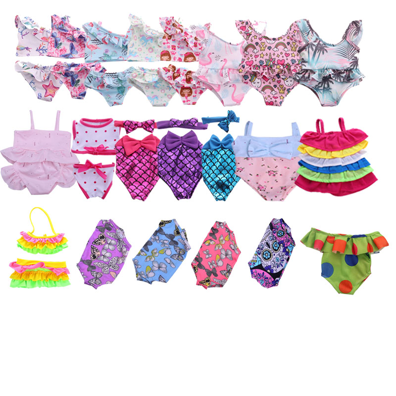 Doll Clothes Doll 15 Pcs Swimsuit Different Styles For 18 Inch American Doll & 43 Cm Born Doll Accessories  For Generation