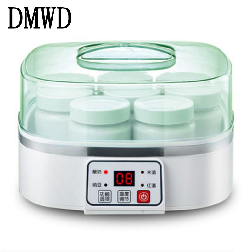 DMWD Electric automatic Yogurt Maker Multifunction natto Leben rice wine fermenter red wine fermenting Machine With 8 cups EU US natto yogurt makers household fully automatic yogurt machine with glass liner timing rice wine machine 4 sub cup green