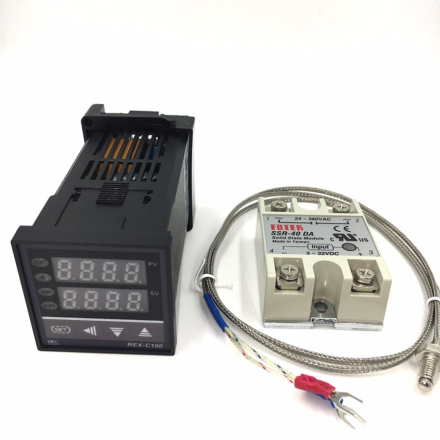 1Kits Digital Adjustable PID Temperature Controller Panel Thermostat REX-C100 + Max.40A SSR Relay + K Thermocouple Probe