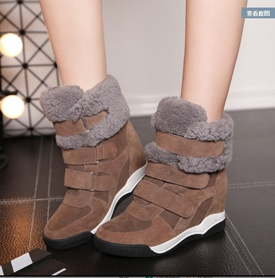 SWYIVY Genuine Leather Lamb Fur Sneakers Shoes Wedge Woman High Top 2018 Winter New Warm Female