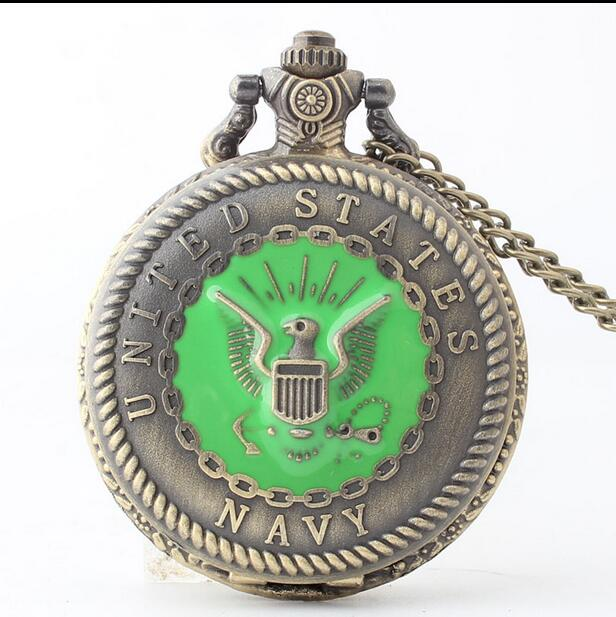 2020 Hot United States Army Navy Pattern Bronze Antiques Modern Hours Quartz Necklace Pocket Watches Gift