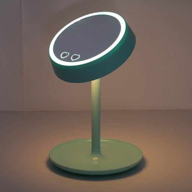 Elegante 3-in-1 Portable Pro Espejo de aumento Espejo de Maquillaje Con Luz Led de Carga USB Con Soporte De Mesa Espejo de Aumento