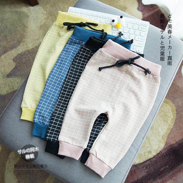Corea Nueva Primavera Niño Recién Nacido 2017 Pantalones A Cuadros Clásicos Infantil Baby Girl Baby Boy Pantalones de Mezclilla Pantalones Vaqueros