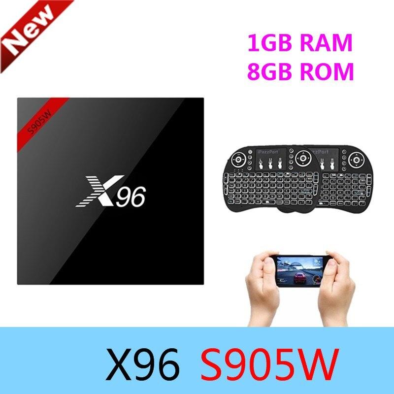 X96 X96w Android 7.1 Smart TV Box Amlogic S905W CPU 64Bit 1 GB RAM 8 GB ROM 2.4G Wifi 4 K Bluetooth 4.0 Set Top Box Supporto HDMI2.0