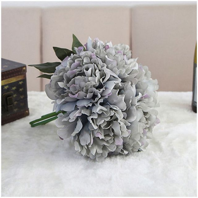 Artificial Fake Peony Silk Flower Bridal Hydrangea Home Wedding Garden Decor Dai blue color