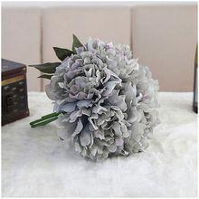 Artificial Fake Peony Silk Flower Bridal Hydrangea Home Wedding Garden Decor Dai blue color