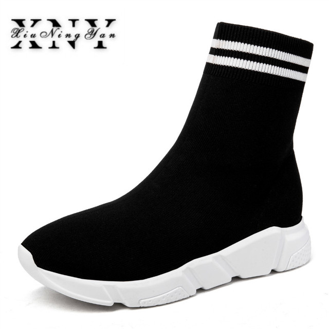 XIUNINGYAN Breathable Ankle Boots Women Socks Shoes Woman Sneakers Casual  Elasticity Wedge Heel Platform Shoes Mujer Size 42 43 f5edf45f08e5