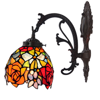 Stained Glass Single LED Sconce Wall Lamp Lights Wandlamp,Flower Rose Wedding Room Bedroom Decorative Wall Lamp Home Lighting