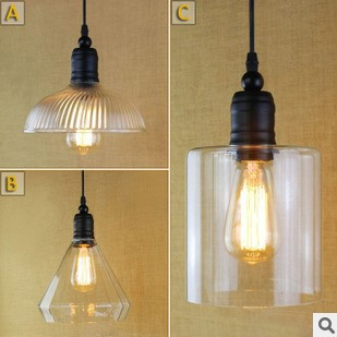 60W America Loft Style Vintage Industrial Lighting Edison Pendant Light with Glass Lamp Shade,Pendentes E Lustres vintage loft industrial edison flower glass ceiling lamp droplight pendant hotel hallway store club cafe beside coffee shop
