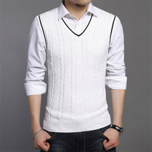 Sweater Men Fashion Sleeveless Knitted Vest Male V-Neck Pullover Male Jacket Slim Solid Casual Mens Woolen Sweaters Vest