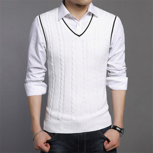Sweater Men Fashion Sleeveless Knitted V