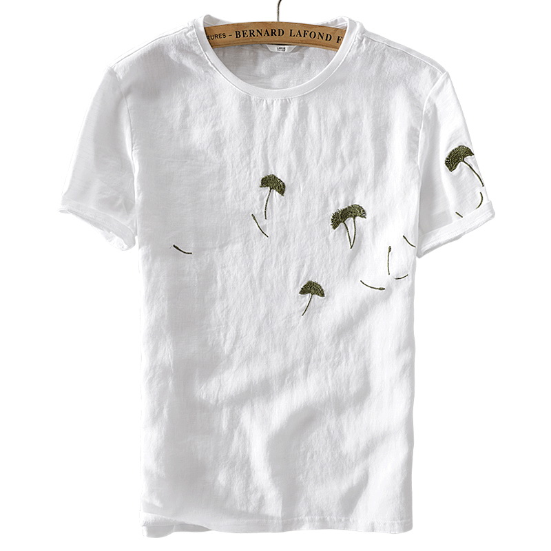 Embroidery Linen T Shirt Men Italy Style Brand Fashion Men T Shirt Flax White M Xl Soft Breathable Tshirt Male Free Shipping