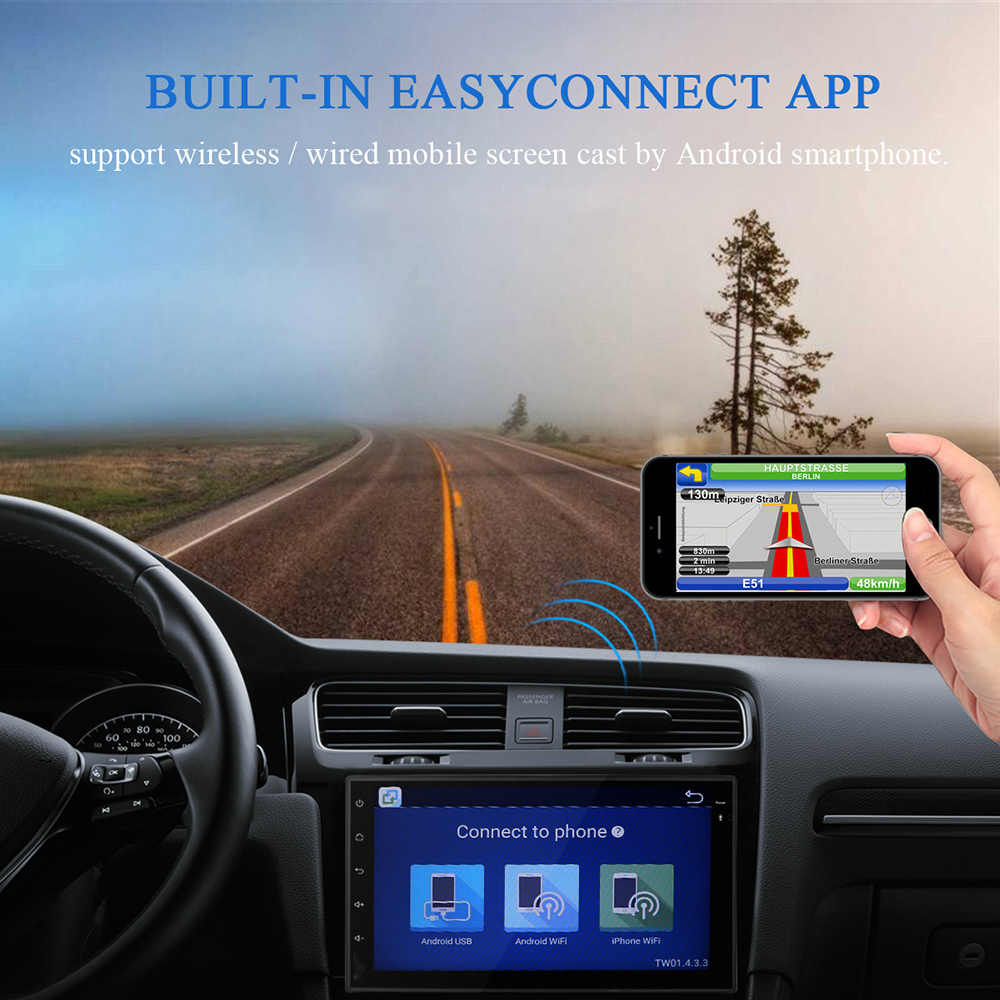 2 Din 7 pulgadas Android 8,0 Universal Car DVD Player para Nissan/Toyota/Corrola/Volkswagen Wifi navegación GPS Bluetooth Radio