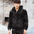 CR098 men's genuine real sheep fur coat coats winter warm real wool one fur jacket /jackets outerwear with hooded