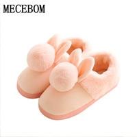Для женщин обувь розовый Тапочки Для женщин и мужчин хлопок Тапочки в зимний теплый дом прекрасный кролик indoor Тапочки беременная женщина ...