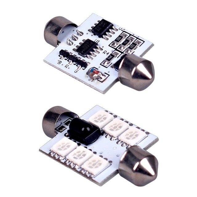 2 pces rgb mapa dome luz interior do carro + controle remoto 39mm dc 12 v 5050 6led carro-estilo da placa de licença lâmpadas dome