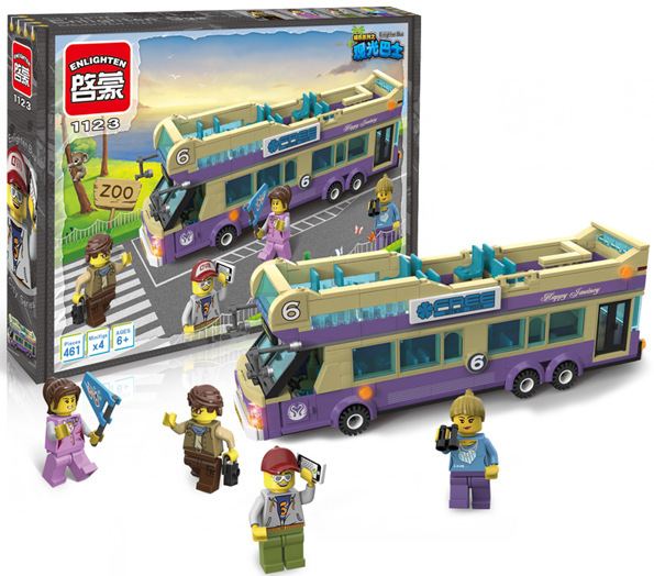 ENLIGHTEN model building kits compatible with lego city bus 605 3D blocks Educational model & building toys hobbies for children