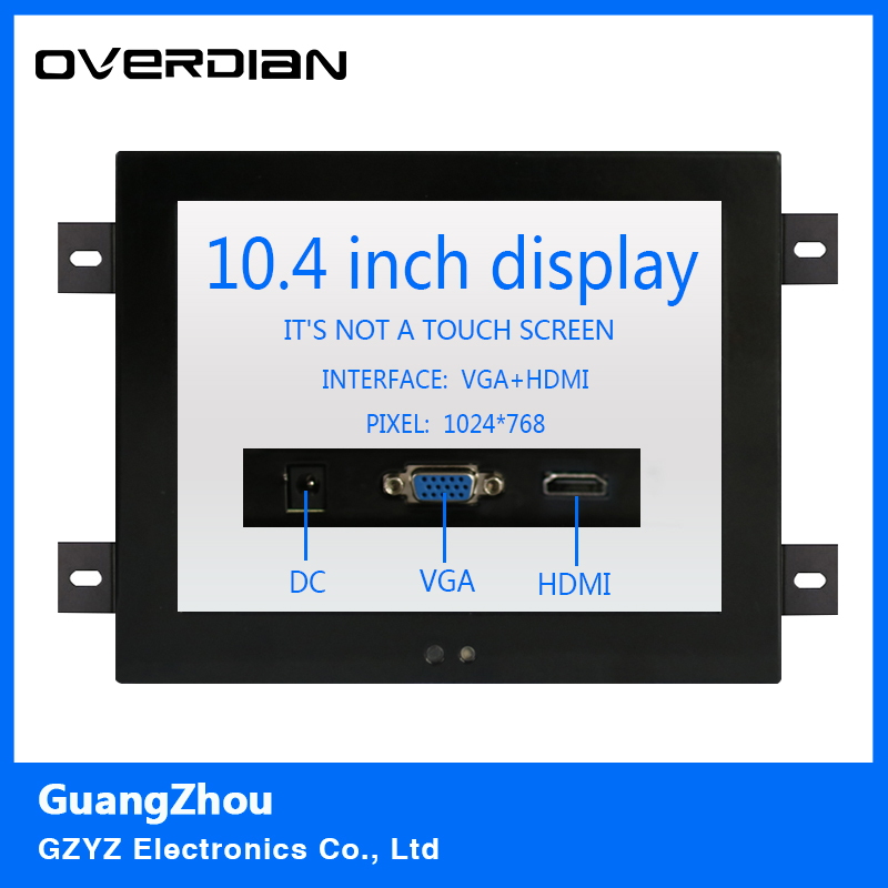 10.4/10VGA/HDMI interface Non-touch Screen Industrial Monitoring Machines Metal Shell Embedded Lcd Monitor1024*768 Hanger Fixed 8 8 4 inch vga dvi interface non touch industrial control lcd monitor display metal shell buckle card installation 4 3