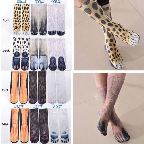 2019 new 3D Print Animal Foot Hoof Paw Feet Crew   Socks   Adult Digital Simulation   Socks   Unisex Tiger Dog Cat   Sock