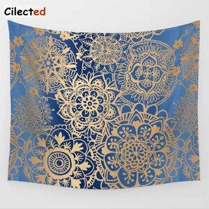 Image 4 - Cilected India Mandala Gobelin Gobelin wisząca ściana kwiatowa tkanina gobelinowa poliester/bawełna Hippie Boho narzuta obrusy