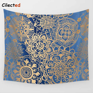 Image 4 - Cilected India Mandala Tapestry Gobelin Hanging Wall Floral Tapestry Fabric Polyester/Cotton Hippie Boho Bedspread Table Cloths