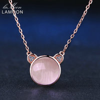 LAMOON Long Pendant Necklace 925 Sterling Silver Jewelry Natural Gemstone Pinks Rose Quartz Lovely Bear Chain Fashion Women Gift
